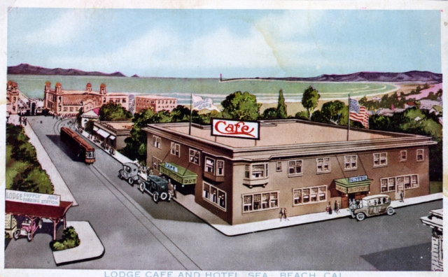 A wildly inaccurate view of the Lodge Cafe's Exterior at Central Avenue and Main Street.