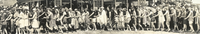 The latest, prettiest, stripped bathing costumes of 1917